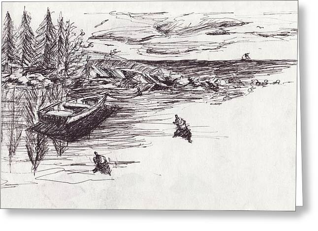 New England Ocean Drawings Greeting Cards - Safe Haven Greeting Card by Robert Parsons