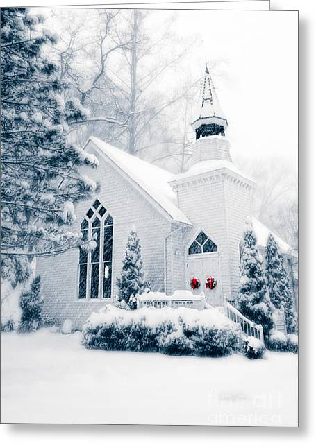 Recently Sold -  - Winter Storm Greeting Cards - Historic Church Oella Maryland in Cool Blue Tones Greeting Card by Vizual Studio