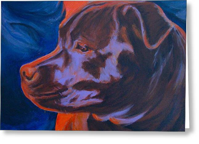 Staffie Greeting Cards - Safe Here Greeting Card by Lesley McVicar