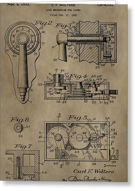 Mechanism Greeting Cards - Safe Lock Patent Greeting Card by Dan Sproul