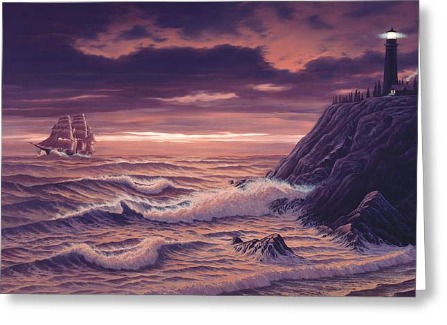Tall Ships Greeting Cards - Safe Passage Greeting Card by Del Malonee