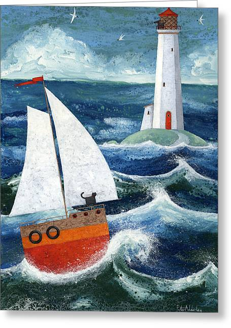 Ship Storm Greeting Cards - Safe Passage Greeting Card by Peter Adderley