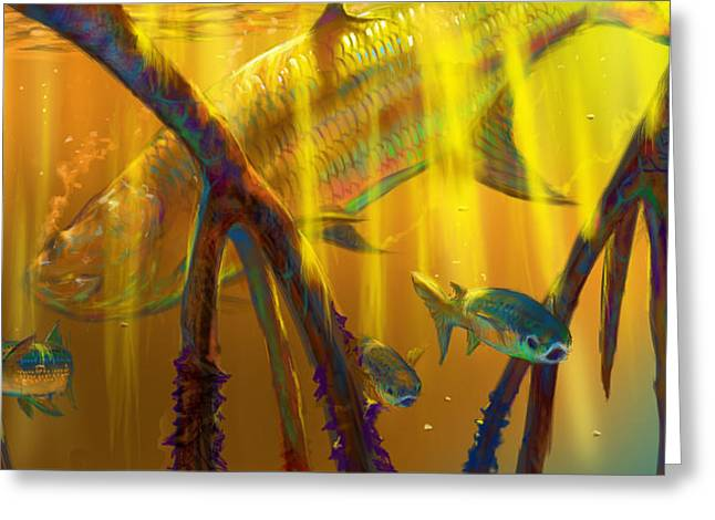 Shark Digital Art Greeting Cards - Safe Place  Greeting Card by Yusniel Santos