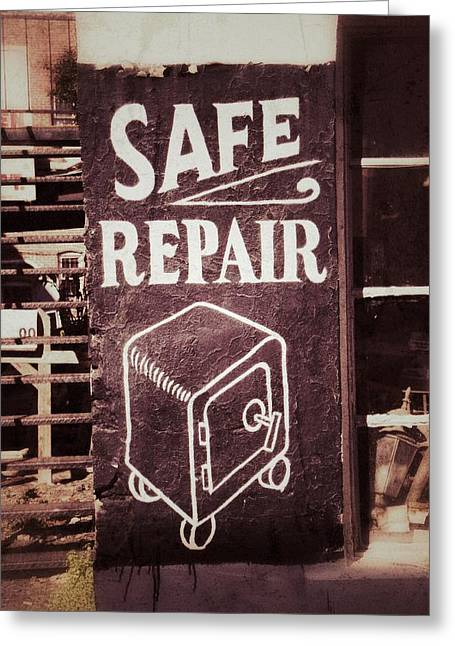 Ghost Signs Greeting Cards - Safe Repair Greeting Card by Brandon Addis