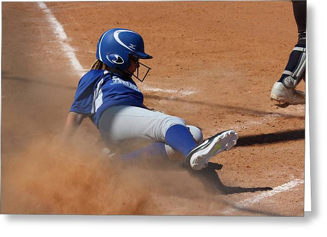 Girls Softball Greeting Cards - Safe Greeting Card by Robert Austin
