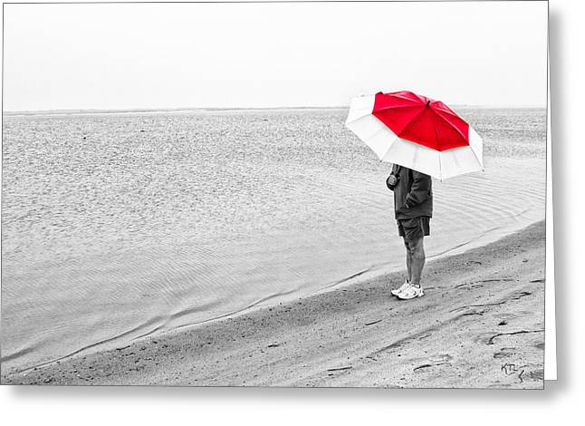 By Myself Greeting Cards - Safe Under The Umbrella Greeting Card by Karol  Livote