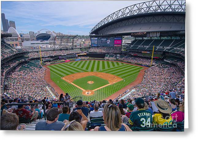 Pastimes Greeting Cards - Safeco Field 7 Greeting Card by Tracy Knauer
