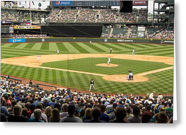 Pastimes Greeting Cards - Safeco Field Panorama 1 Greeting Card by Tracy Knauer
