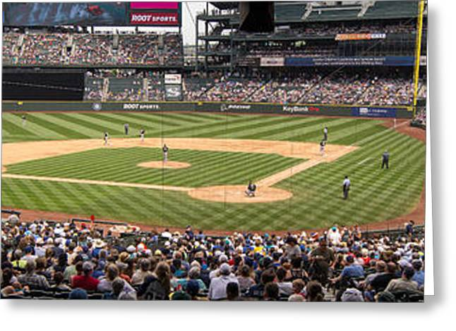 Pastimes Greeting Cards - Safeco Field Panorama 2 Greeting Card by Tracy Knauer
