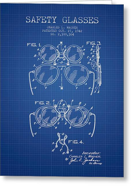 Glass Wall Greeting Cards - Safety Glasses Patent from 1942 - Blueprint Greeting Card by Aged Pixel