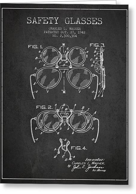 Glass Wall Greeting Cards - Safety Glasses Patent from 1942 - Dark Greeting Card by Aged Pixel