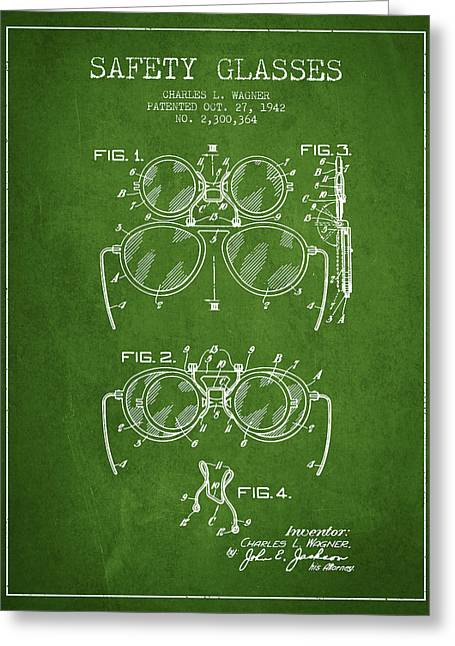 Glass Wall Greeting Cards - Safety Glasses Patent from 1942 - Green Greeting Card by Aged Pixel