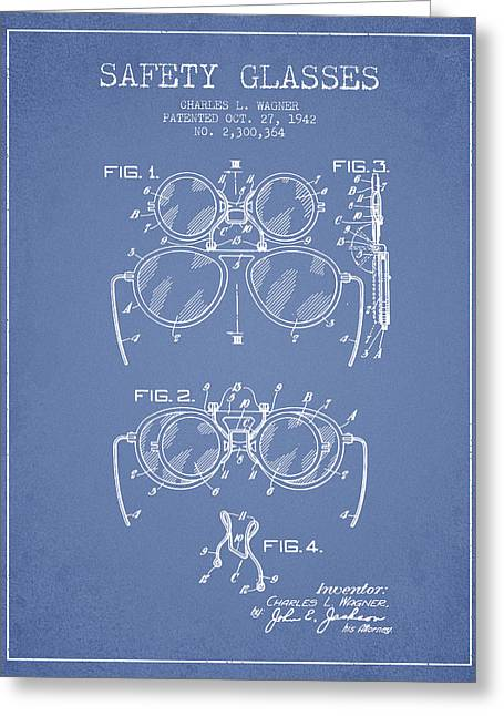 Glass Wall Greeting Cards - Safety Glasses Patent from 1942 - Light Blue Greeting Card by Aged Pixel