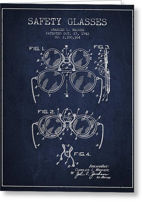 Glass Wall Greeting Cards - Safety Glasses Patent from 1942 - Navy Blue Greeting Card by Aged Pixel