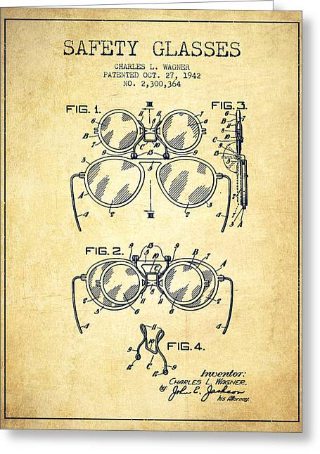 Glass Wall Greeting Cards - Safety Glasses Patent from 1942 - Vintage Greeting Card by Aged Pixel