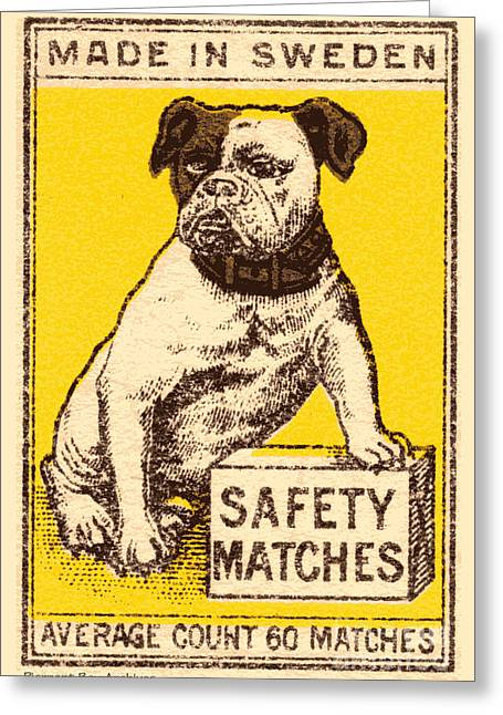 Spitball Greeting Cards - Safety Matches Made in Sweden Average Count 60 Matches Greeting Card by Pierpont Bay Archives