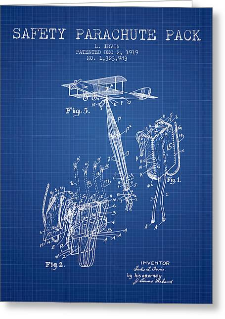 Parachuting Greeting Cards - Safety parachute patent from 1919 - Blueprint Greeting Card by Aged Pixel