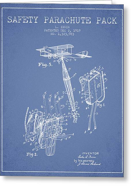 Parachuting Greeting Cards - Safety parachute patent from 1919 - Light Blue Greeting Card by Aged Pixel