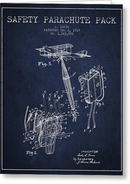 Parachuting Greeting Cards - Safety parachute patent from 1919 - Navy Blue Greeting Card by Aged Pixel