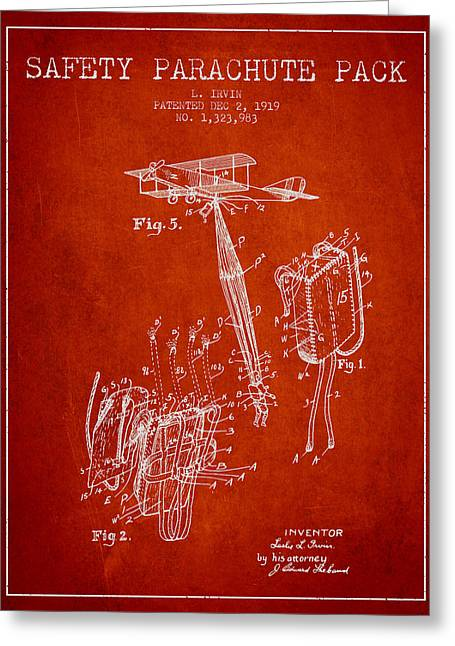 Parachuting Greeting Cards - Safety parachute patent from 1919 - Red Greeting Card by Aged Pixel