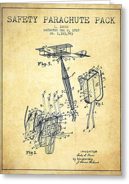 Parachute Greeting Cards - Safety parachute patent from 1919 - Vintage Greeting Card by Aged Pixel
