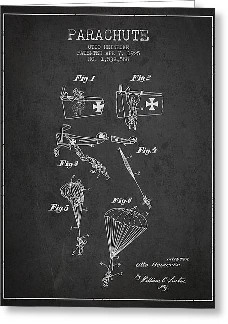 Parachuting Greeting Cards - Safety parachute patent from 1925 - Charcoal Greeting Card by Aged Pixel