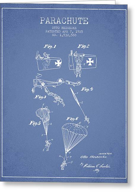 Parachuting Greeting Cards - Safety parachute patent from 1925 - Light Blue Greeting Card by Aged Pixel