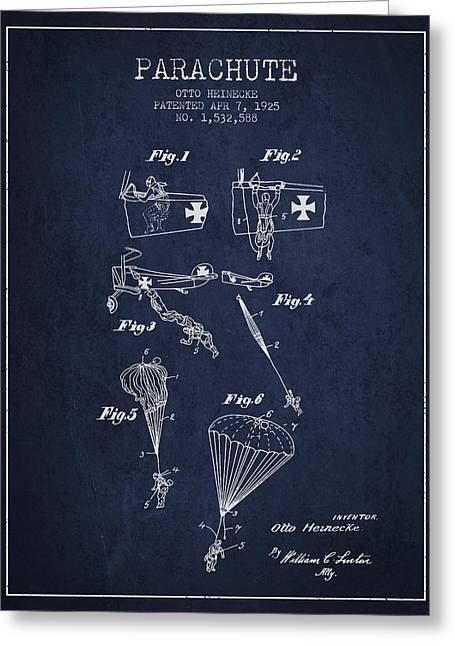 Parachuting Greeting Cards - Safety parachute patent from 1925 - Navy Blue Greeting Card by Aged Pixel