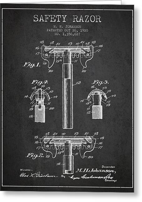 Shaving Greeting Cards - Safety Razor Patent from 1920 - Dark Greeting Card by Aged Pixel