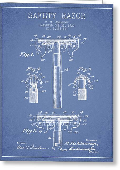 Shaving Greeting Cards - Safety Razor Patent from 1920 - Light Blue Greeting Card by Aged Pixel