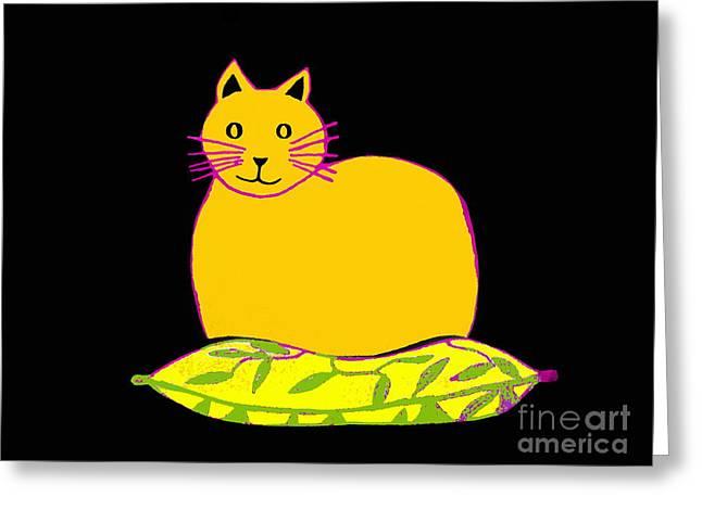 Cushions Drawings Greeting Cards - Saffron Cat On Black Greeting Card by Barbara Moignard