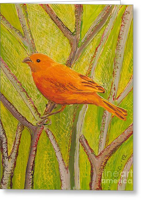 Fauna Glass Art Greeting Cards - Saffron Finch Greeting Card by Anna Skaradzinska