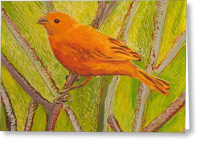 Saffron Finch Greeting Card by Anna Skaradzinska