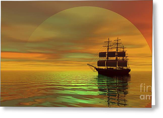 Sailboat Images Digital Greeting Cards - Saffron Skies Greeting Card by Corey Ford