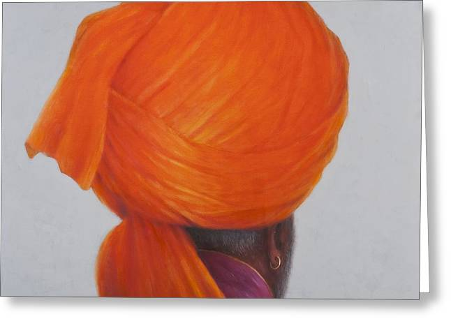 Orange Earrings Greeting Cards - Saffron Turban, 2014 Oil On Canvas Greeting Card by Lincoln Seligman