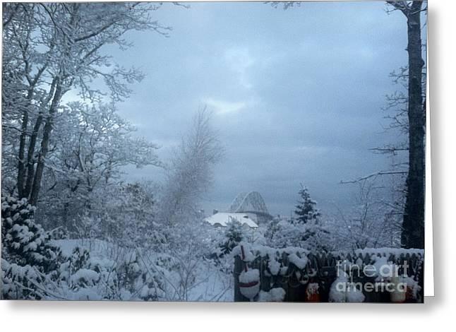 Covered Bridge Tapestries - Textiles Greeting Cards - Sagamore Bridge Blizzard Greeting Card by Lisa  Marie Germaine