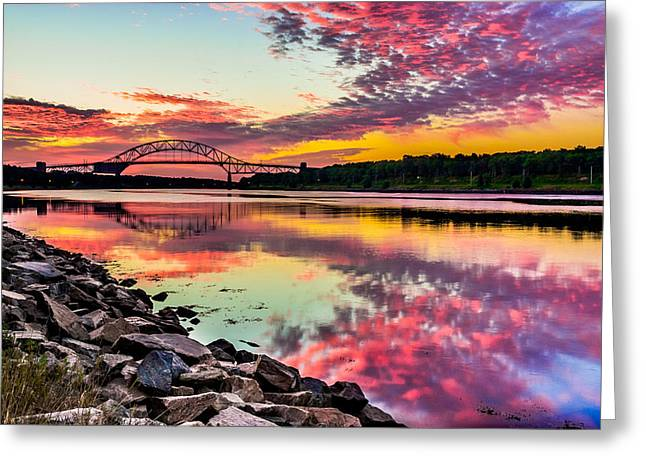 Sagamore Bridge Sunrise Greeting Card by Dean Martin