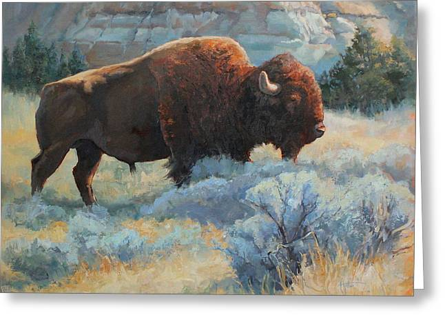 The American Buffalo Paintings Greeting Cards - Sage Greeting Card by Abigail Gutting