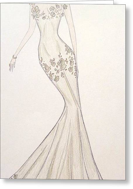 Vines Pastels Greeting Cards - Sage Trellis Gown Greeting Card by Christine Corretti