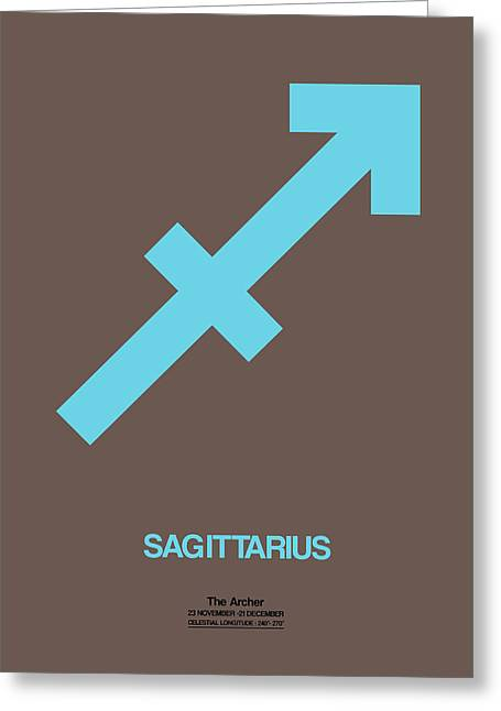 Signed Digital Greeting Cards - Sagittarius Zodiac Sign Blue Greeting Card by Naxart Studio