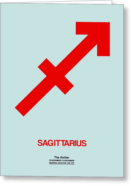 Signed Digital Greeting Cards - Sagittarius Zodiac Sign Red Greeting Card by Naxart Studio