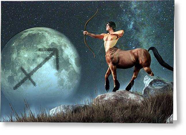 Symbology Greeting Cards - Sagittarius Zodiac Symbol Greeting Card by Daniel Eskridge