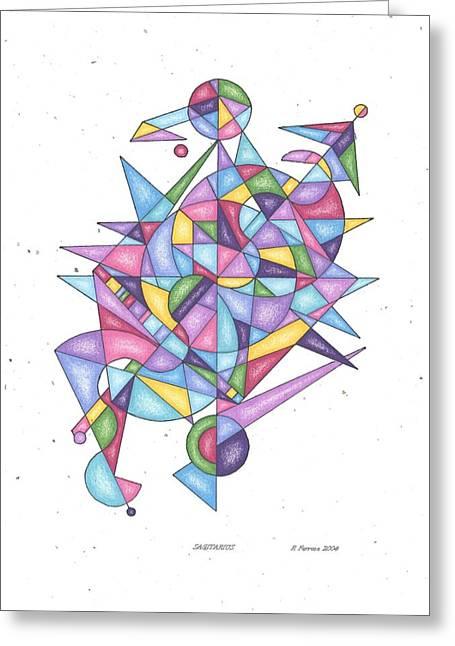 Sacred Drawings Greeting Cards - Sagittarius Zodiac Symbol Greeting Card by Ruthie Ferrone