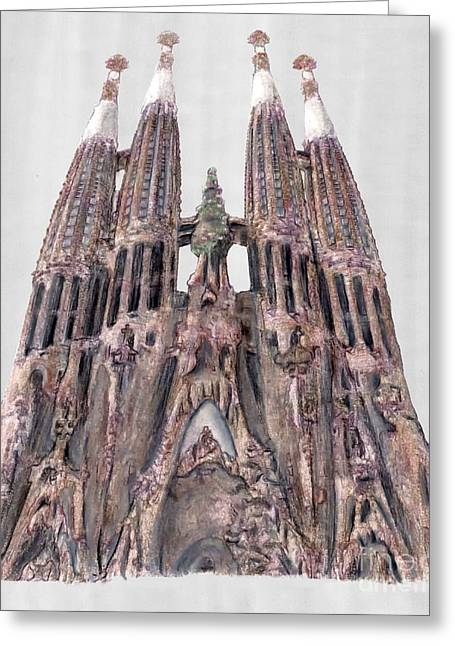 Barcelona Drawings Greeting Cards - Sagrada Familia Barcelona Greeting Card by Gerald Blaikie