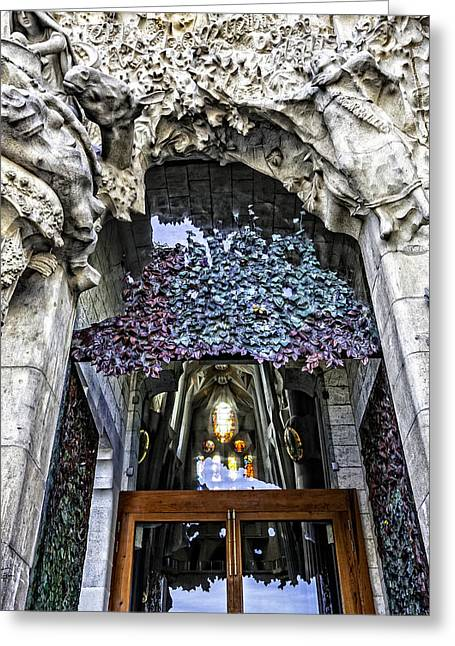 Sagrada Familia Doors - Barcelona - Spain Greeting Card by Madeline Ellis