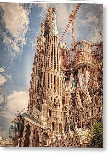 Catholic Art Greeting Cards - Sagrada Familia Greeting Card by Erik Brede
