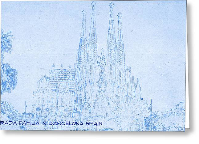 Bravery Mixed Media Greeting Cards - Sagrada Familia in Barcelona Spain  - BluePrint Drawing Greeting Card by MotionAge Designs