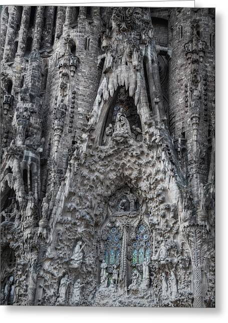 Fantasy World Greeting Cards - Sagrada Familia Nativity Facade Greeting Card by Joan Carroll