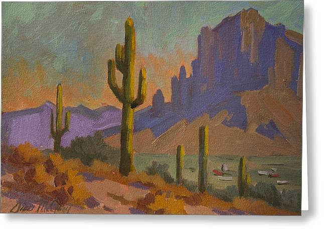Saguaro Cactus Greeting Cards - Saguaro Cactus and Apache Junction Greeting Card by Diane McClary