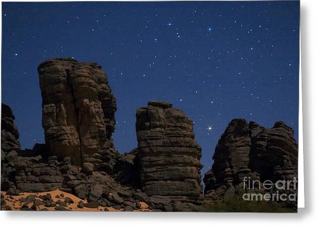 Moonlit Night Greeting Cards - Sahara Night Greeting Card by Babak Tafreshi
